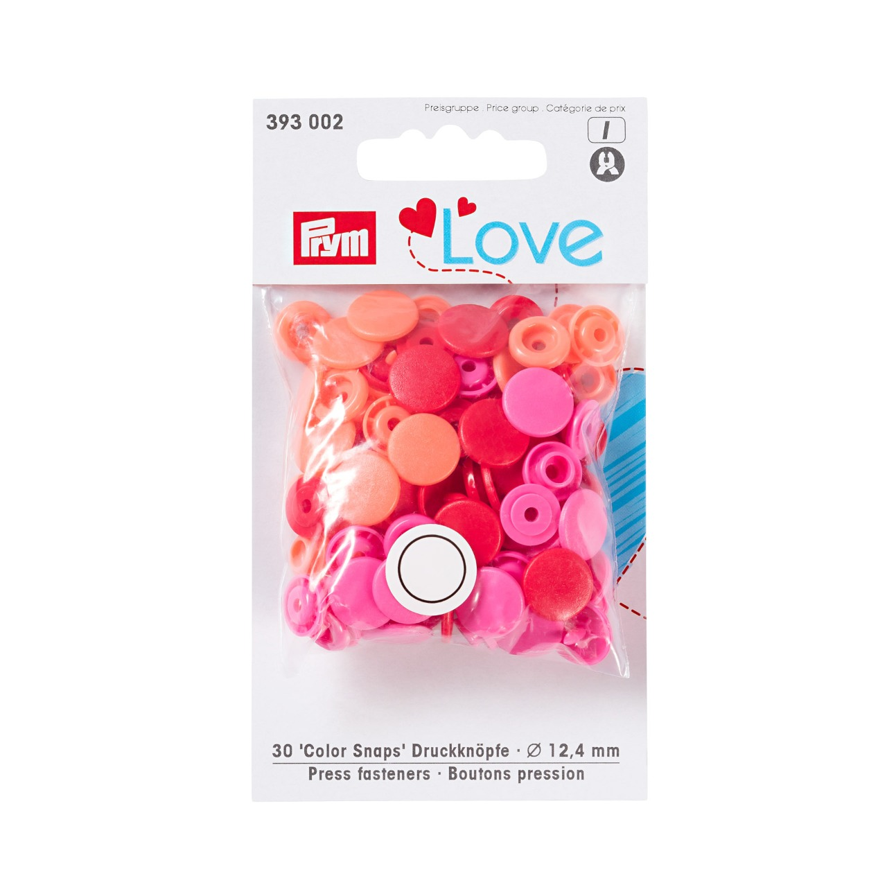 Sachet de 30 boutons pression 12 mm Prym love